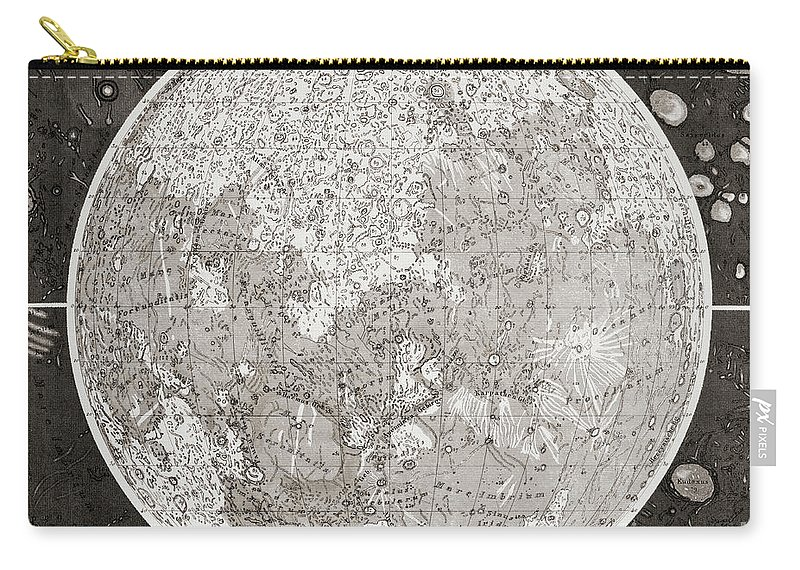 Moon Carry-all Pouch featuring the drawing Map Of The Moon Produced In The 1830s by German School