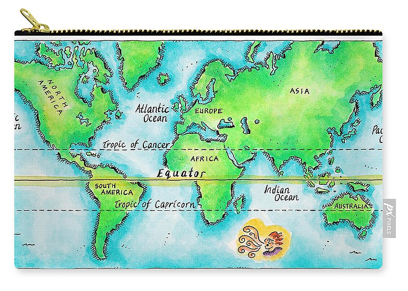 Watercolor Painting Carry-all Pouch featuring the digital art Map Of The World & Equator by Jennifer Thermes