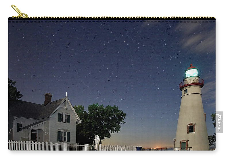 Marblehead Lighthouse State Park Carry-all Pouch featuring the photograph Marblehead Lighthouse At Night by Christopher McKenzie