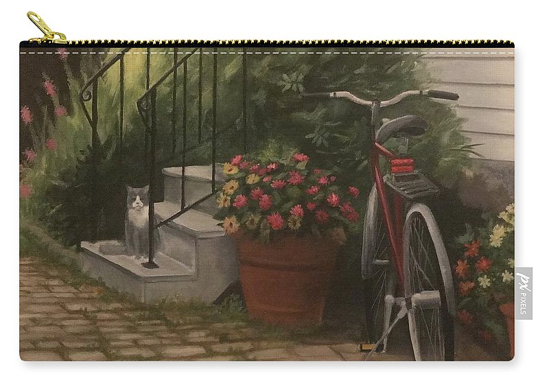 Cat Carry-all Pouch featuring the painting Marblehead Porch by Catherine Yovino Cauterucci