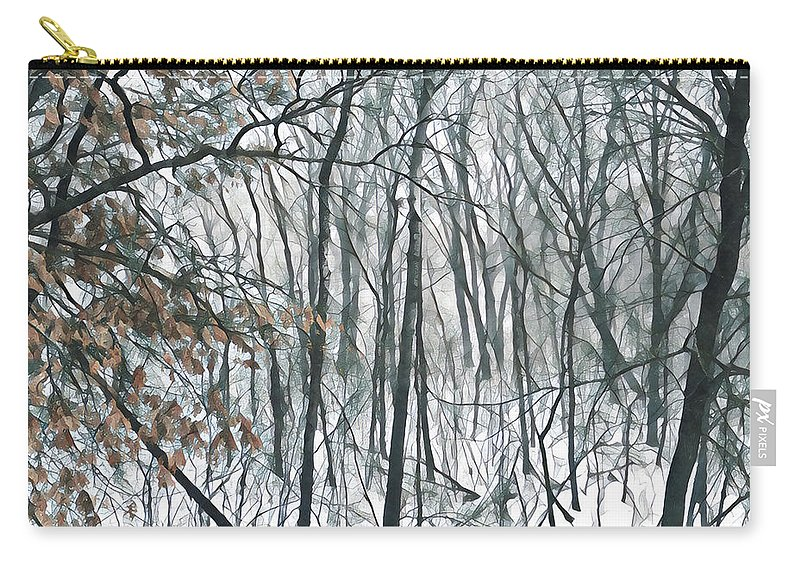 Snow Carry-all Pouch featuring the photograph March Woods by Tim Nyberg