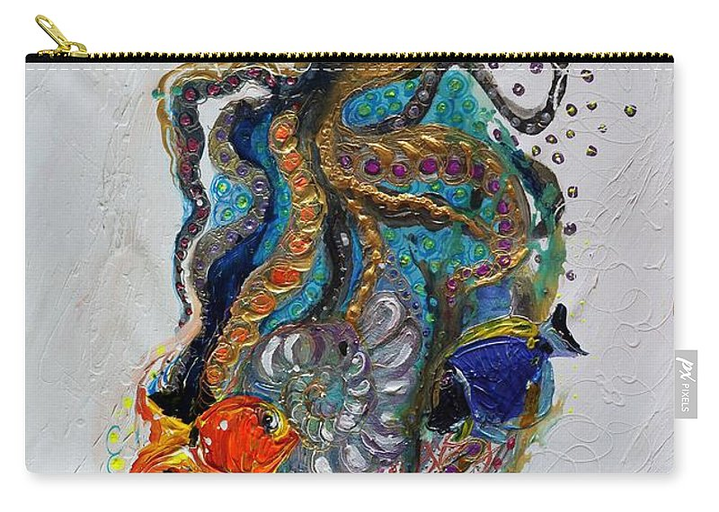Sea Life Carry-all Pouch featuring the painting Mare Nostrum Series #7. Black Octopus by Elena Kotliarker
