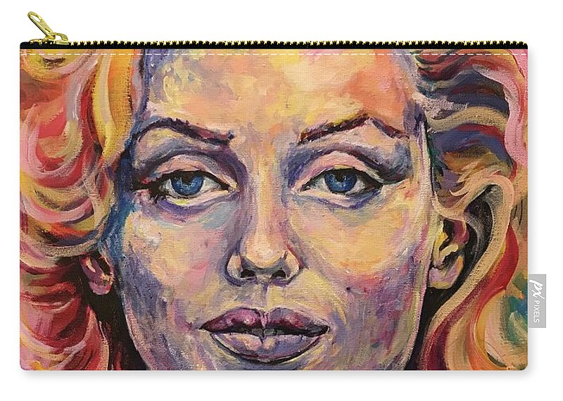 Marilyn Monroe Carry-all Pouch featuring the painting Marilyn Monroe by Jill Allport