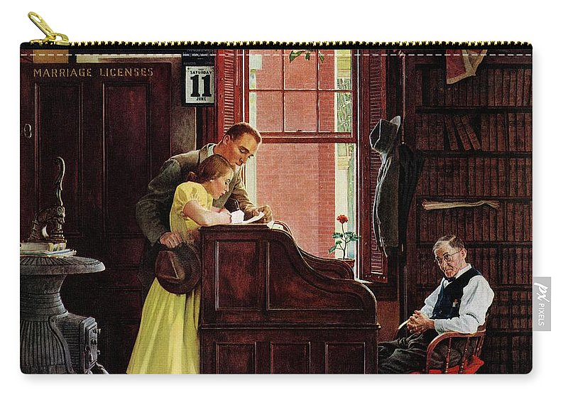Clerks Carry-all Pouch featuring the drawing Marriage License by Norman Rockwell