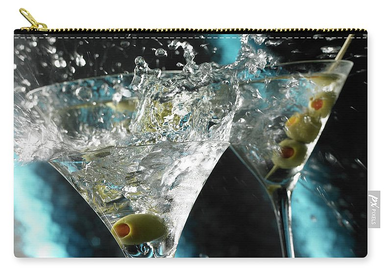 Alcohol Carry-all Pouch featuring the photograph Martini Wild Splash by Triton21