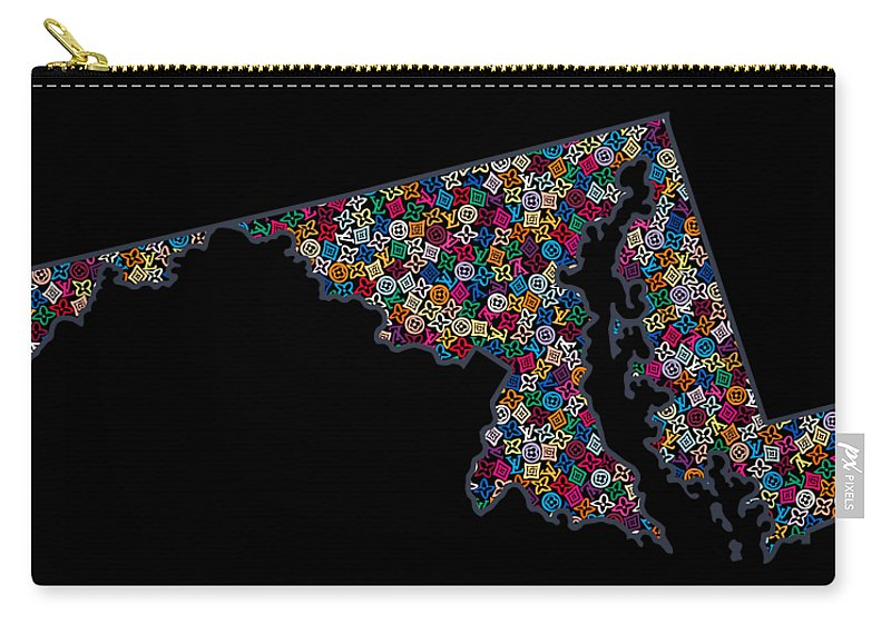 Lv Carry-all Pouch featuring the painting Maryland Map - 2 by Nikita
