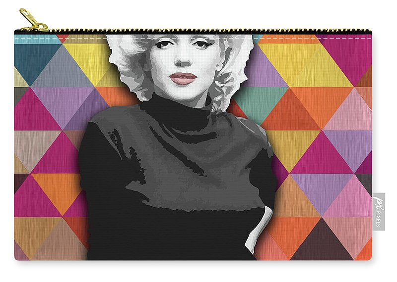 Marylin Carry-all Pouch featuring the painting Marylin Monroe Diamonds by Carla Bank