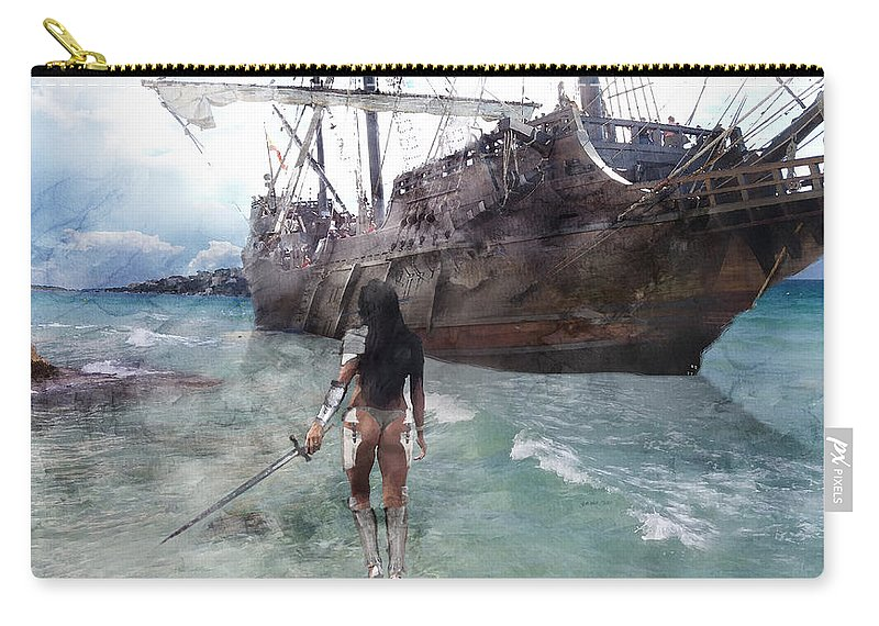 Knight Carry-all Pouch featuring the painting Medieval Legend 017 by Jani Heinonen