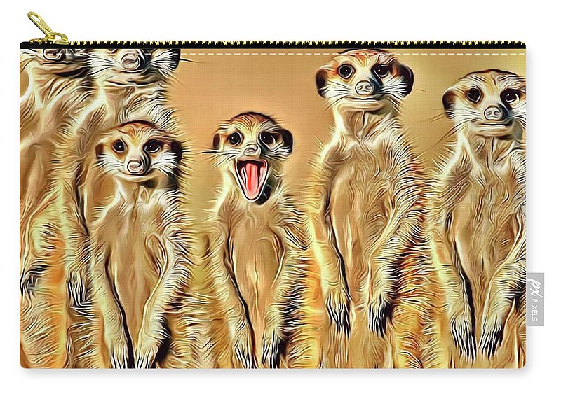 Meerkat Carry-all Pouch featuring the digital art Meerkat Family by Russ Carts
