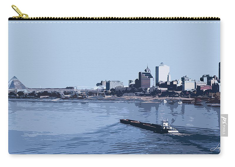 Memphis Carry-all Pouch featuring the mixed media Memphis Riverfront by Hayes Laughlin