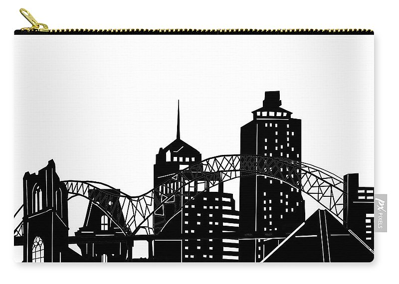 Memphis Carry-all Pouch featuring the digital art Memphis Skyline Panorama by Bekim M
