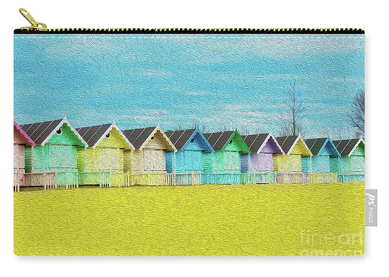 West Mersea Carry-all Pouch featuring the photograph Mersea Island Beach Hut Oil Painting Look 2 by Jonny Essex