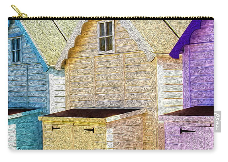 West Mersea Carry-all Pouch featuring the photograph Mersea Island Beach Hut Oil Painting Look 6 by Jonny Essex