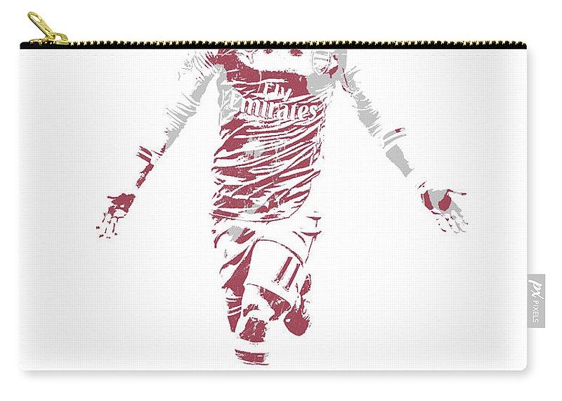Mesut Ozil Carry-all Pouch featuring the mixed media Mesut Ozil Arsenal 1 by Joe Hamilton