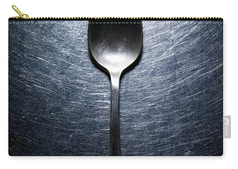 Spoon Carry-all Pouch featuring the photograph Metal Spoon On Stainless Steel by Ballyscanlon
