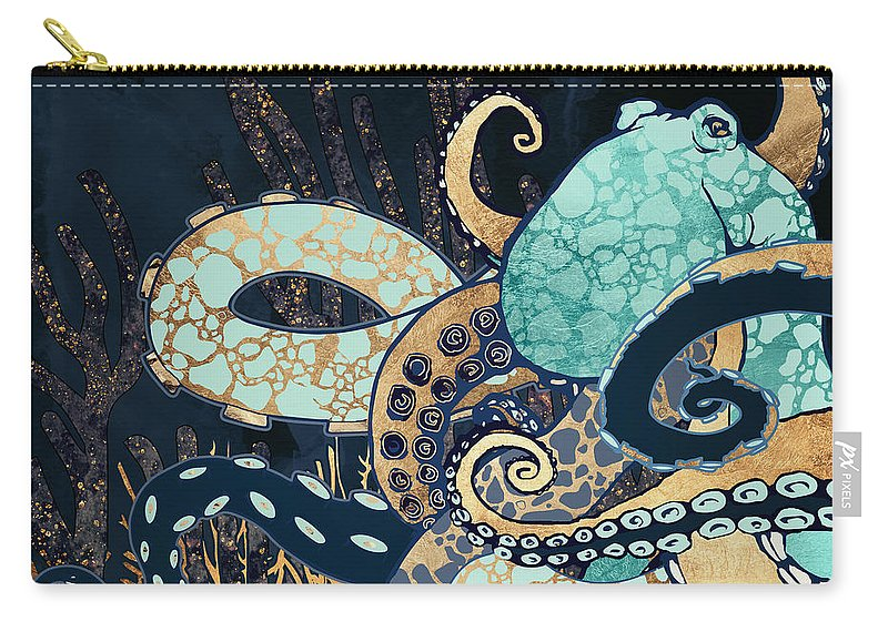 Digital Carry-all Pouch featuring the digital art Metallic Octopus II by Spacefrog Designs