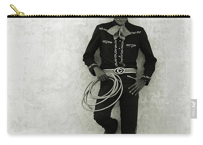 Cool Attitude Carry-all Pouch featuring the photograph Mexican Cowboy Wearing Hat And Holding by Terry Vine