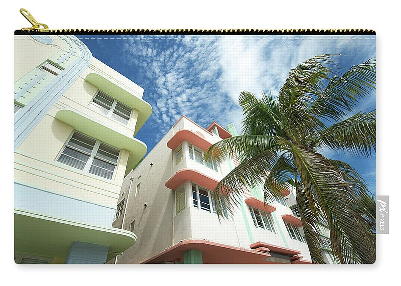 Architectural Feature Carry-all Pouch featuring the photograph Miami Art Deco Drive Architecture Blue by Peskymonkey
