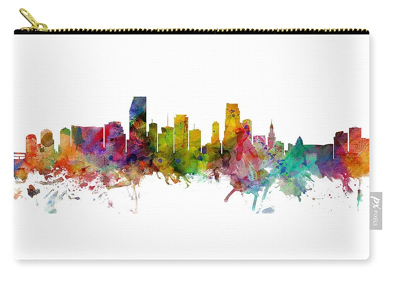 Miami Carry-all Pouch featuring the digital art Miami Florida Skyline Panoramic by Michael Tompsett