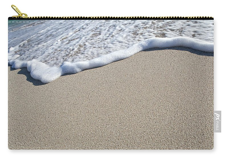 Water's Edge Carry-all Pouch featuring the photograph Miami South Beach Sand And Surf by Inhauscreative