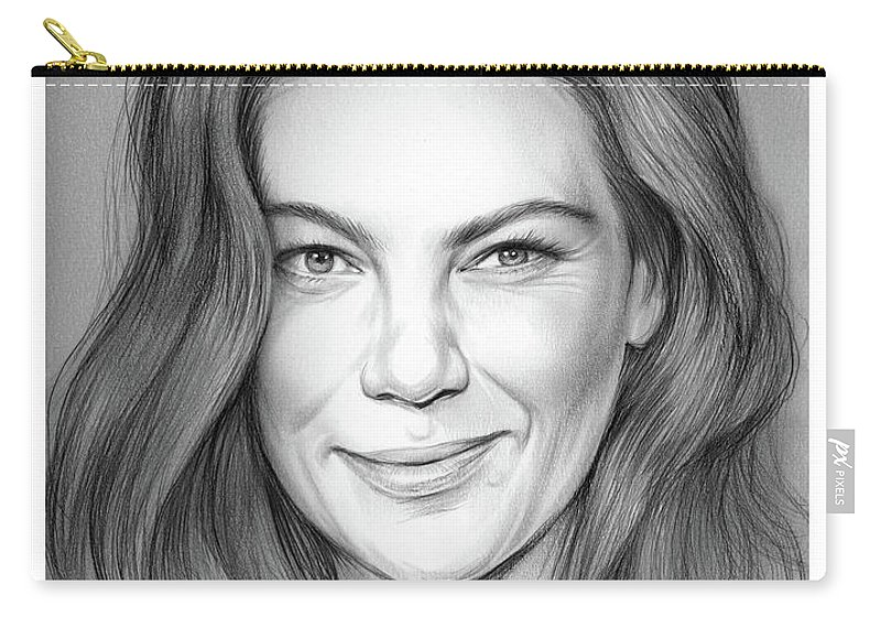 Michelle Monaghan Carry-all Pouch featuring the drawing Michelle Monaghan by Greg Joens