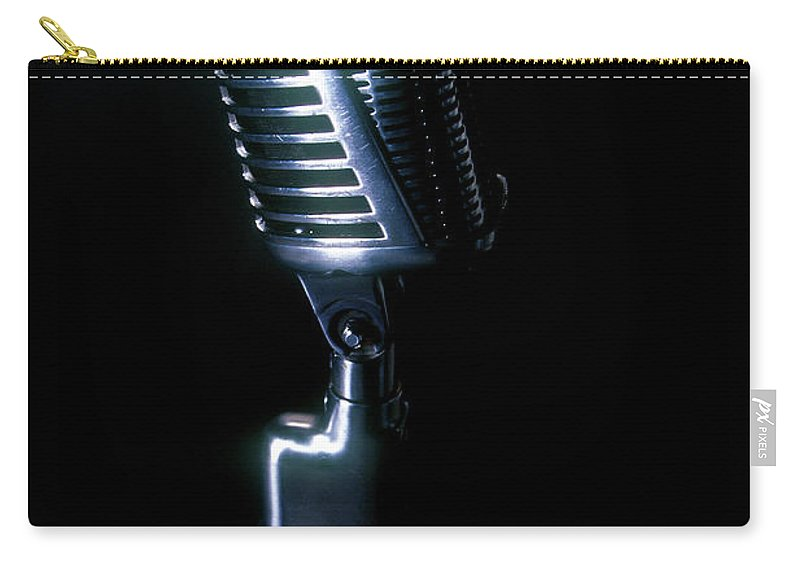 Rock Music Carry-all Pouch featuring the photograph Microphone by Braddy