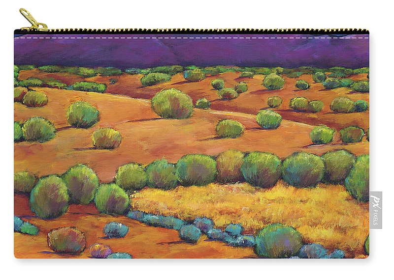 Contemporary Southwest Carry-all Pouch featuring the painting Midnight Sagebrush by Johnathan Harris