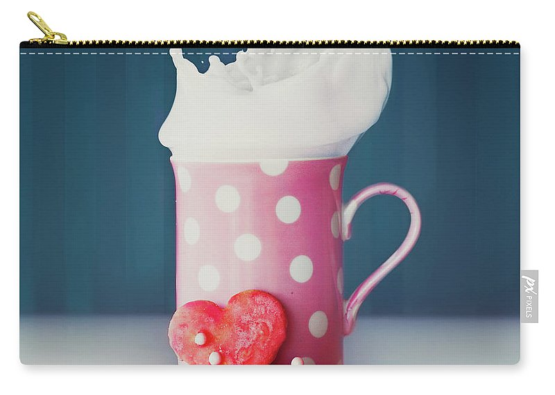 Milk Carry-all Pouch featuring the photograph Milk And Heart Shape Cookies by Julia Davila-lampe