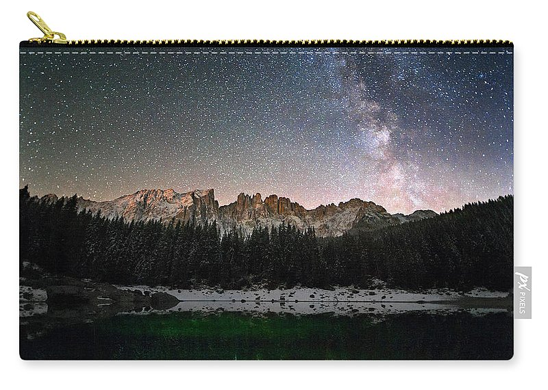Scenics Carry-all Pouch featuring the photograph Milky Way In The Alps by Scacciamosche