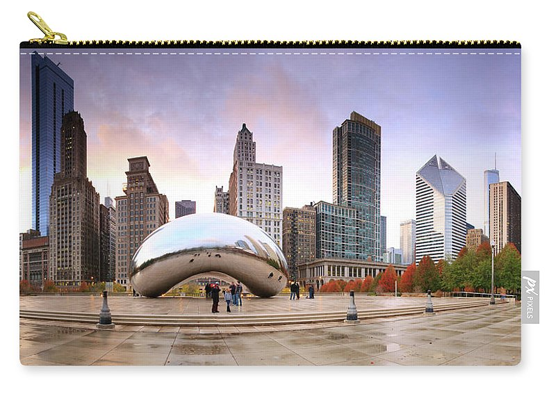 Dawn Carry-all Pouch featuring the photograph Millennium Park, Chicago, Illinois,usa by Travelpix Ltd