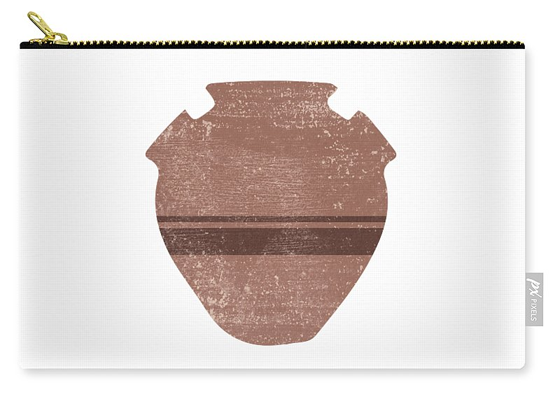 Abstract Carry-all Pouch featuring the mixed media Minimal Abstract Greek Vase 19 - Psykter - Terracotta Series - Modern, Contemporary Print - Brown by Studio Grafiikka
