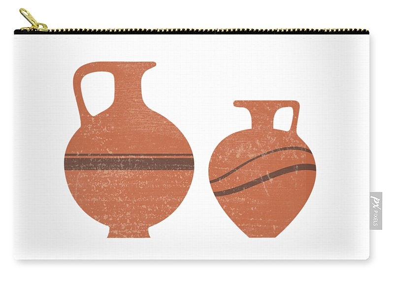 Abstract Carry-all Pouch featuring the mixed media Minimal Abstract Greek Vase 20 - Oinochoe - Terracotta Series - Modern, Contemporary Print - Sienna by Studio Grafiikka