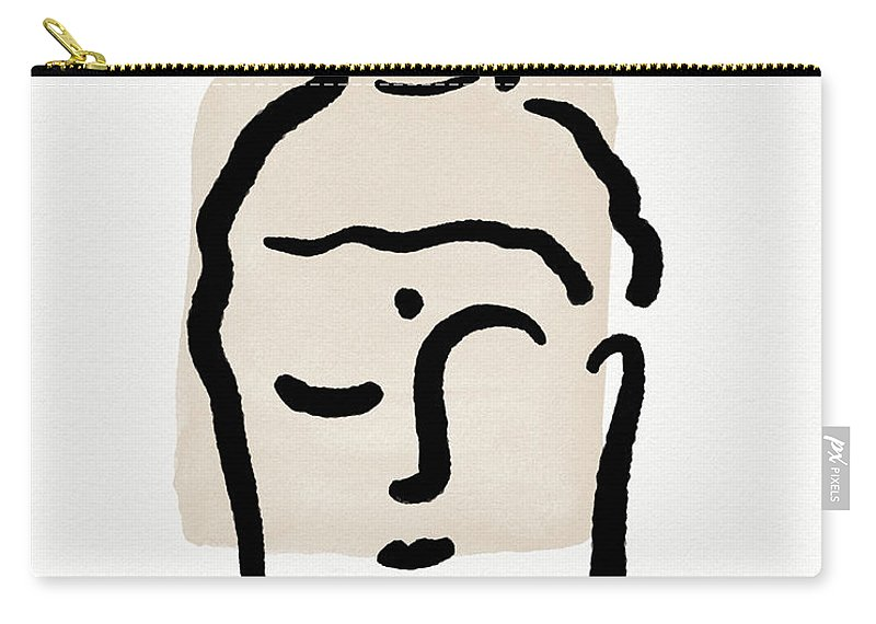 Minimal Carry-all Pouch featuring the mixed media Minimal Buddha 4- Art By Linda Woods by Linda Woods