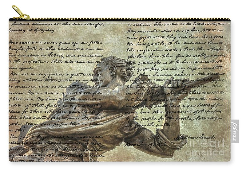 Mississippi Monument Gettysburg Address Carry-all Pouch featuring the digital art Mississippi Monument Gettysburg Address by Randy Steele