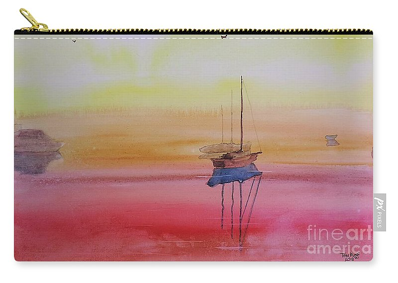 Mist Carry-all Pouch featuring the painting Misty Morning Boats by Tom Riggs