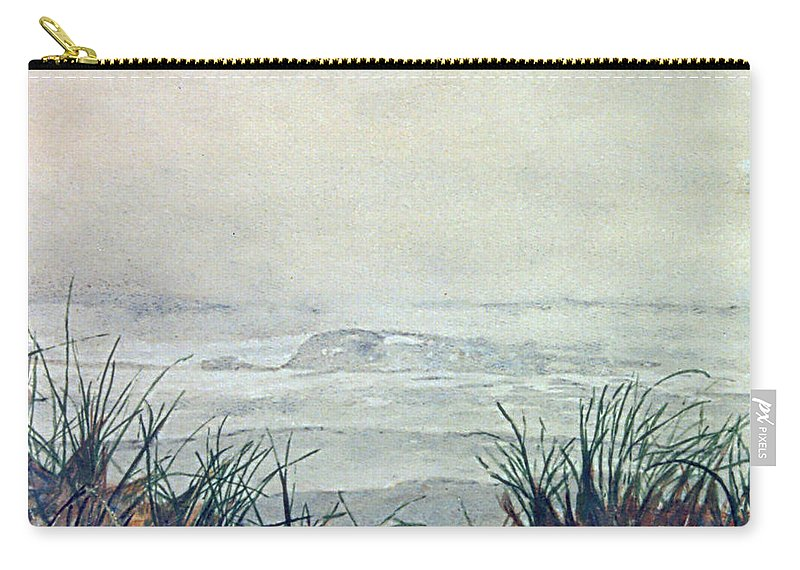 Seascape - Beach Scene Carry-all Pouch featuring the painting Misty Morning On Lawrencetown Beach by Anthony Palmer