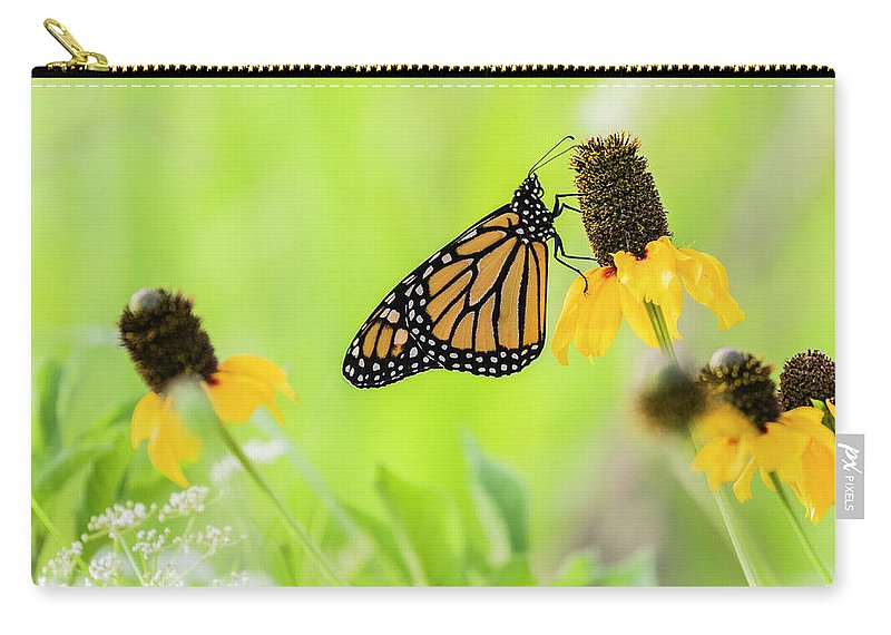 Animal Carry-all Pouch featuring the photograph Monarch On Wildflowers by Aaron Hamilton