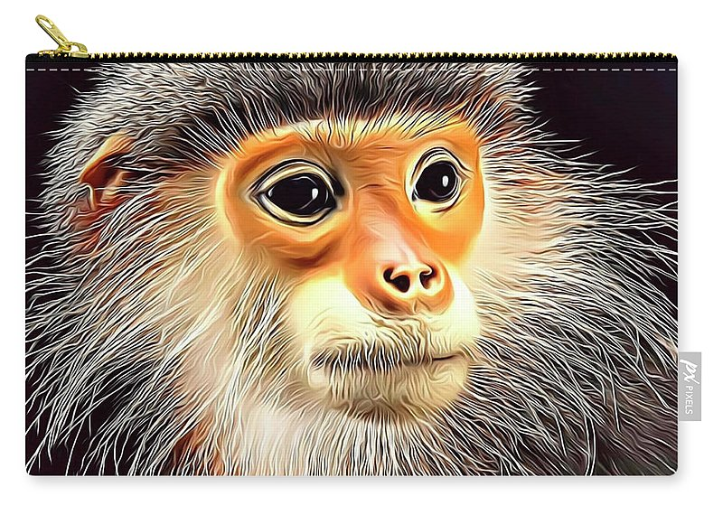Monkey Carry-all Pouch featuring the digital art Monkey 2 by Russ Carts