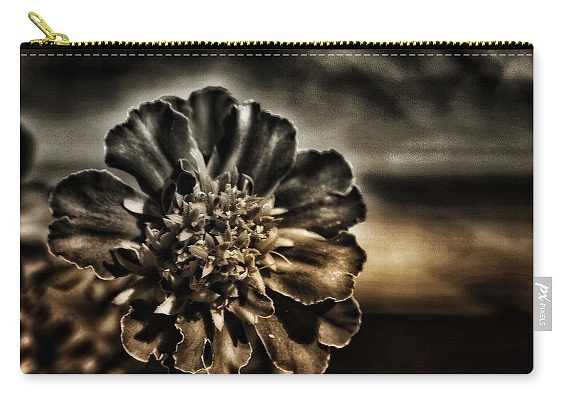 Monochrome Carry-all Pouch featuring the photograph Monochrome Marigold by JasoBones Photography
