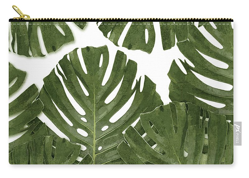 Monstera Carry-all Pouch featuring the mixed media Monstera Leaf Pattern - Green - Tropical, Botanical Design - Modern, Minimal Decor by Studio Grafiikka