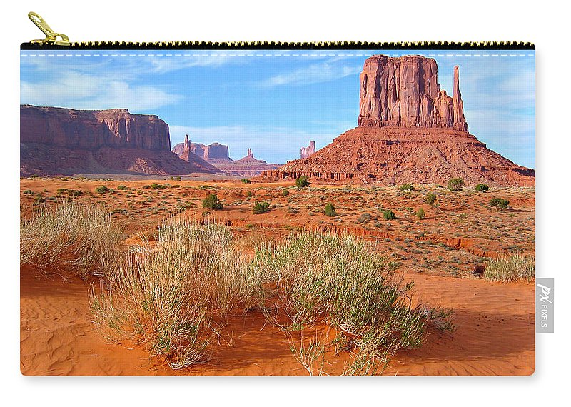 Tranquility Carry-all Pouch featuring the photograph Monument Valley Landscape by Sandra Leidholdt