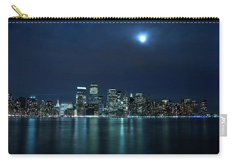Lower Manhattan Carry-all Pouch featuring the photograph Moon Light Over New York City by Brandonj74