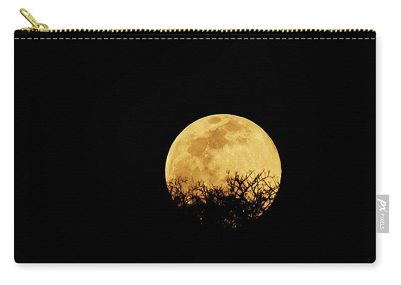 Horror Carry-all Pouch featuring the photograph Moon Rise by Rollingearth