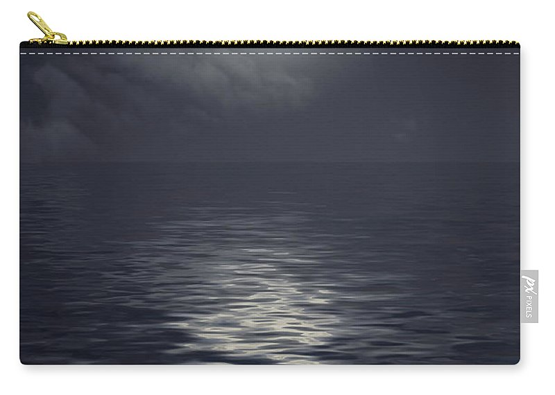 Scenics Carry-all Pouch featuring the photograph Moon Under Ocean by Andreyttl
