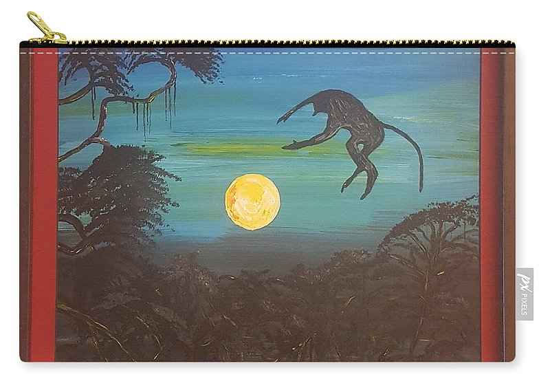 Moonlight Baboon Carry-all Pouch featuring the photograph Moonlight Baboon by Quintus Curtius