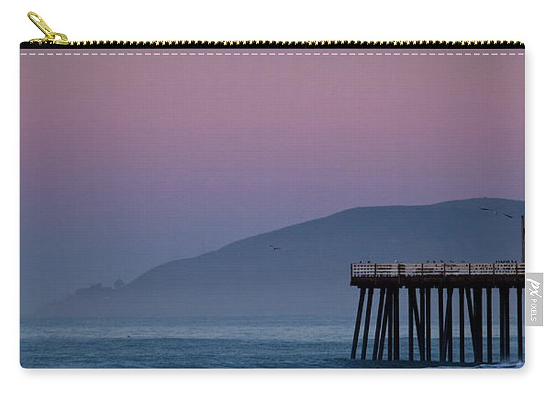 Pismo Beach Carry-all Pouch featuring the photograph Moonset At Pismo Beach by Mimi Ditchie Photography