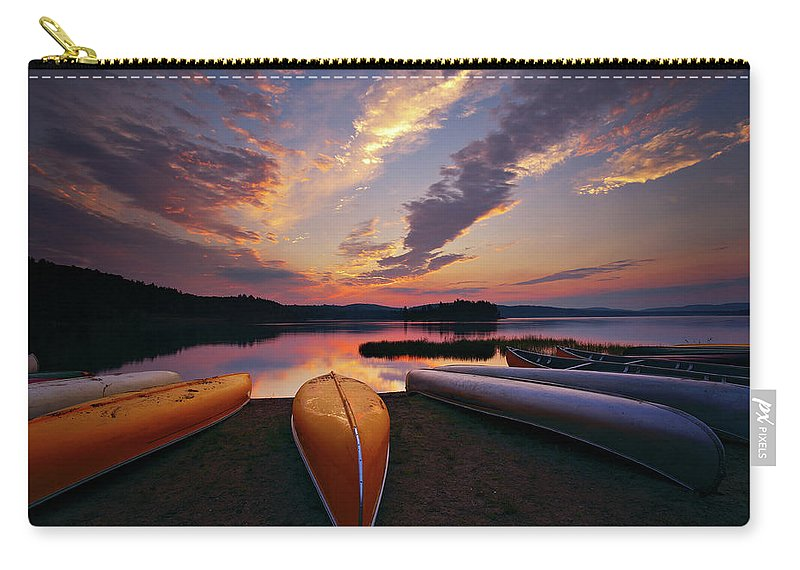 Tranquility Carry-all Pouch featuring the photograph Morning At Lake Of The Two Rivers by Henry@scenicfoto.com