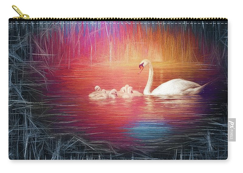 Swan Carry-all Pouch featuring the photograph Morning Bath 2 by Jaroslav Buna
