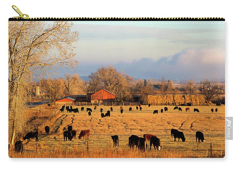 Scenics Carry-all Pouch featuring the photograph Morning Farm Scene by Beklaus