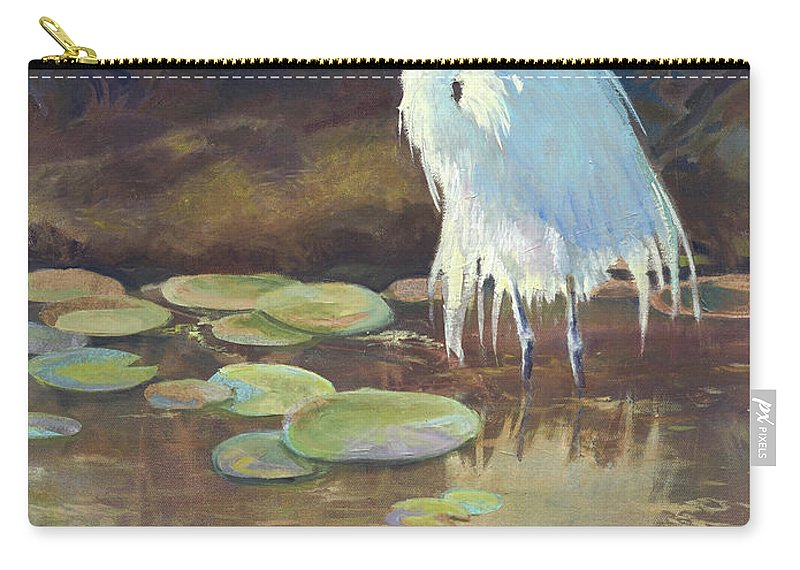 Egret Carry-all Pouch featuring the painting Morning Glow by Judy McElynn